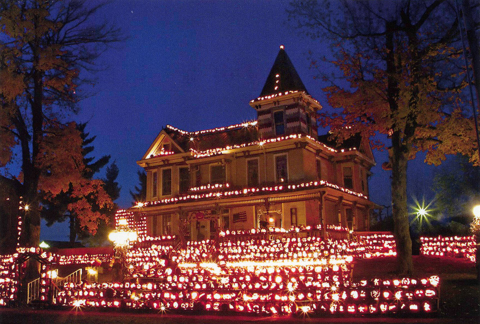 Each Halloween over 3000 jack-o-lanterns cover the house and grounds of 748 Beech Street.  Built in 1891 by Joseph Miller, the Victorian home was once visited by President Grover Cleveland.  G&F card #28