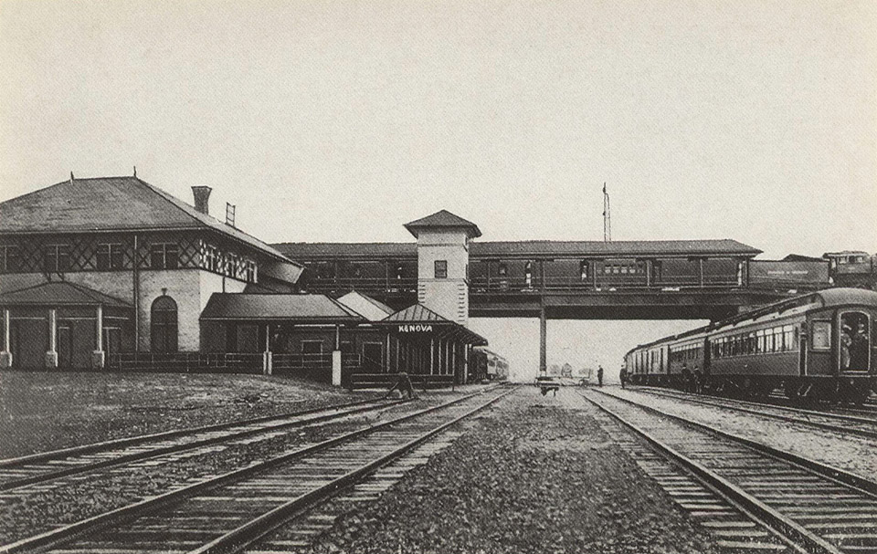 Union Passenger Station, Kenova, W. Va., showing trains from N&W RR.  Bridge and B&O RR at left and C&O RR at right. Issued by Griffith & Feil Drugs, Kenova WV