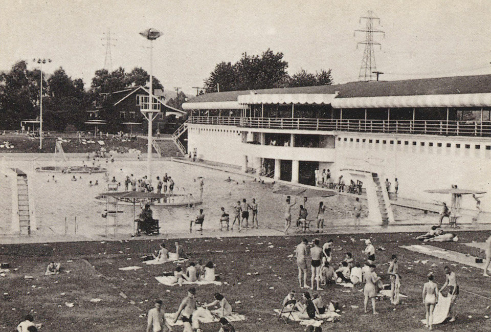 DREAMLAND POOL, KENOVA, WEST VIRGINIA - Built in 1926 Dreamland was once one of the largest pools in the United States.  Big Bands of the 1930's & 40's played here, including stars like Louis Armstrong, Benny Goodman and Tommy Dorsey.  Fire destroyed the Pavilion in 1973, but the pool remains one of the great recreation facilities in our area.  © Griffith & Fiel Pharmacy